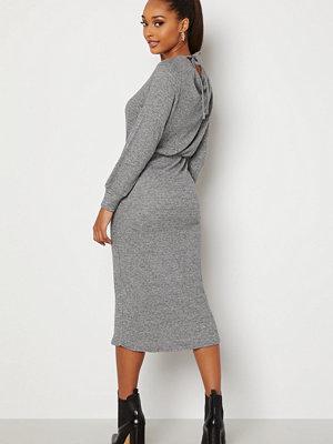 Happy Holly Josey rib midi dress Grey melange