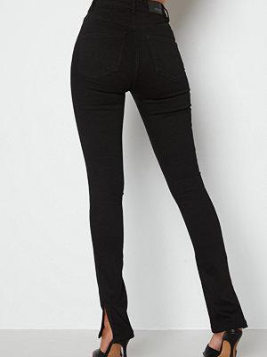 Bubbleroom Bianca slit high waist jeans Black