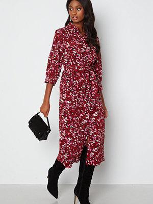Only Nova Lux 3/4 Long Shirt Dress Red Dahilia