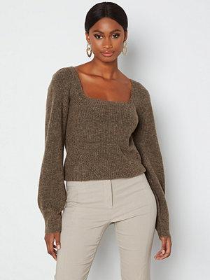 Only Karinna L/S Squareneck Pullover Chestnut Detal: Mela