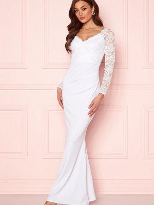 Goddiva Long Sleeve Lace Dress White