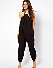 ASOS Halter Cheesecloth Beach Jumpsuit