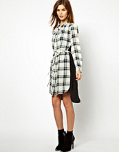 French Connection Checked Shirt Dress with Solid Back