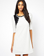 Paper Dolls Shift Dress with Embellished Neck