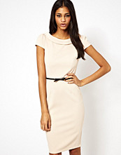 Paper Dolls Belted Pencil Dress with Bardot Neck