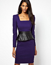 Paper Dolls Long Sleeve Peplum Dress With PU Peplum