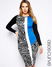Klänningar - ASOS CURVE Exclusive Bodycon Dress With Animal Print Blocking In Longer Length