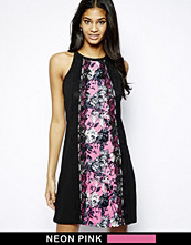 Paper Dolls Shift Dress with Floral Print Panel