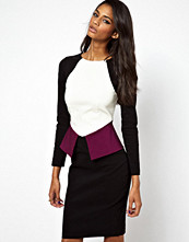 Paper Dolls Contrast Long Sleeve Peplum Pencil Dress