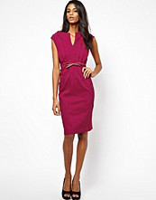 Paper Dolls Belted Bodycon Dress with Lattice Shoulder