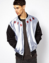 Jackor - Reclaimed Vintage Bomber Jacket in Satin with Rose and Skull Print