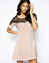 Paper Dolls Shift Dress with Lace Shoulder