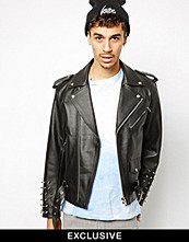 Jackor - Reclaimed Vintage Leather Jacket with Studded Arms