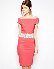 Paper Dolls Belted Off Shoulder Pencil Dress with Lace Waist Detail