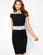 Paper Dolls Belted Off Shoulder Pencil Dress With Lace Waist