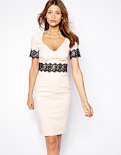 Paper Dolls V Neck Pencil Dress with Lace Waist