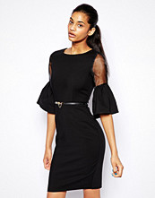 Paper Dolls Pencil Dress with Sheer Insert and Bell Sleeve