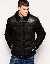 Jackor - Bellfield Padded Wool Jacket With PU Yoke And Borg Collar