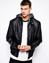 Jackor - Bench Jacket Faux Leather Hooded