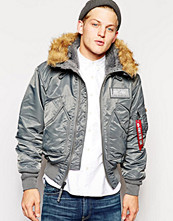 Jackor - Alpha Industries Hooded 45P Jacket in Gunmetal