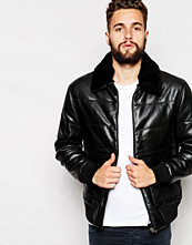 Jackor - Barneys Originals Barney's Premium Leather Padded Jacket With Sherpa Collar