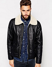 Jackor - Barneys Originals Barney's Distressed Leather Look Jacket With Teddy Bear Fur Collar