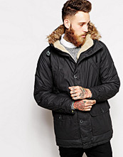 Jackor - Wrangler Parka Coat Denim Performance Sherpa Lined Hood