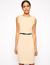 Paper Dolls Paperdolls Ruffle Shoulder Pencil Dress with Belt