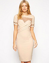Paper Dolls Paperdolls Bodycon Dress with Pleated Front and Lace Detail