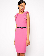 Paper Dolls Ruffle Shoulder Dress with Belt