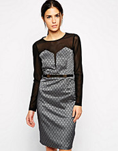 Paper Dolls Long Sleeve Dress with Sweetheart Mesh Insert