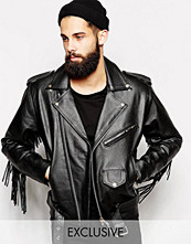 Jackor - Reclaimed Vintage Leather Biker Jacket With Fringing