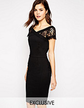 Paper Dolls Pencil Dress with Bardot Lace Neck