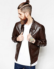 Jackor - Schott Leather Jacket with Collar