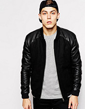 Jackor - Jack & Jones Wool Bomber With PU Sleeves
