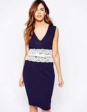Paper Dolls Pencil Dress With Contrast Lace Waist Bow Detail