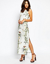 Warehouse Tropical Print Split Side Midi Dress