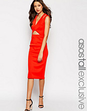 Asos Tall Structured Plunge Midi Dress