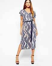 Warehouse Aztec Belted Midi Dress