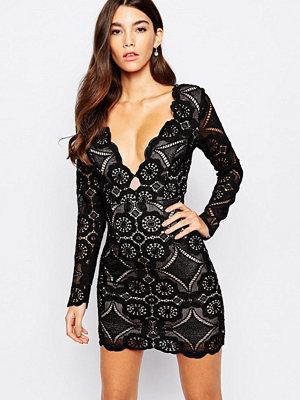 Love Triangle V Neck Mini Dress In All Over Lace
