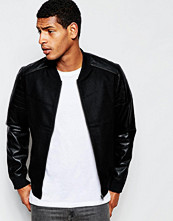 Jackor - Produkt Wool Bomber Jacket with Faux Leather Sleeves