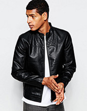 Jackor - Produkt Faux Leather Jacket with Quilted Yoke