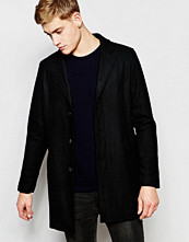 Jackor - Pull&bear Overcoat With Wool-Blend In Black
