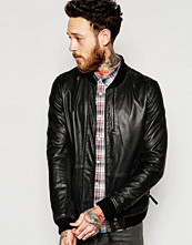 Jackor - Pretty Green Leather Bomber with Perfomated Pindot