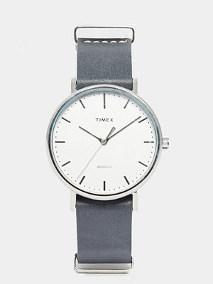 Timex Fairfield Leather Watch In Black TW2P91300