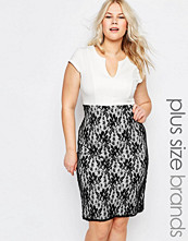 Praslin Plus Pencil Dress With Lace Skirt