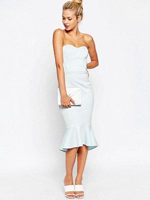 ASOS Pephem Bandeau Midi Dress - Light blue