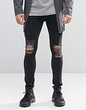 Jeans - ASOS Extreme Super Skinny Jeans With Mega Rips In Washed Black