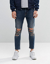 Jeans - ASOS Skinny Cropped Jeans With Extreme Knee Rips In Blue Wash