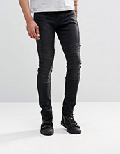 Jeans - ASOS Super Skinny Jeans With Biker Styling In Washed Black